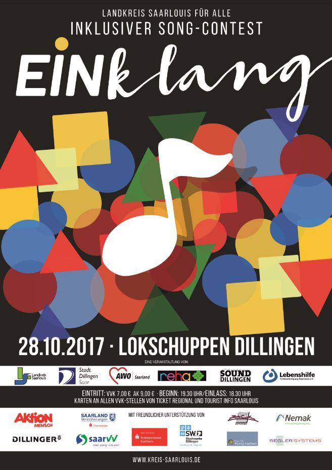 Der Inklusiver Song-Contest Einklang findet am 28.10.2017 im Lokschuppen in Dillingen statt.