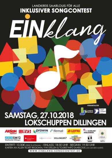 Plakat für den inklusiven Songcontest EINklang am 27.10.2018 im Lokschuppen in Dillingen
