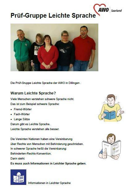 Broschüre über die AWO Prüfgruppe Leichte Sprache