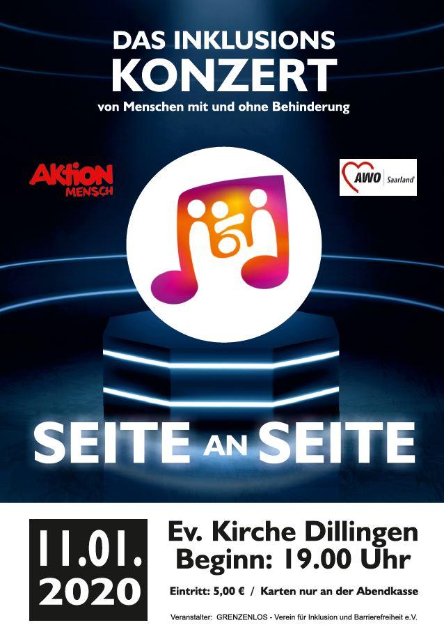 Plakat für das Inklusions-Konzert Seite an Seite